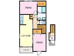 近鉄山田線 斎宮駅 徒歩20分の賃貸アパート 2階2LDKの間取り