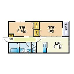 キミヱ和白レジデンス 3階2LDKの間取り