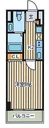 Park Lane Minami 13階1Kの間取り