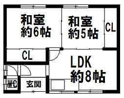 S様似郡様似町栄町共同住宅 1階2LDKの間取り