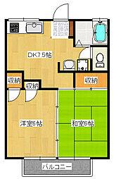 小野ハイツ6号棟[2階]の間取り