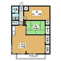 阿部南葛西第1マンション 3階2LDKの間取り