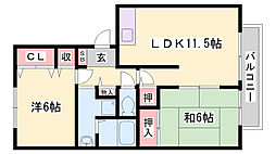 神鉄三田線 五社駅 徒歩14分の賃貸アパート 2階2LDKの間取り