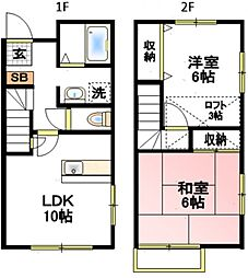 テラス66B[2階]の間取り