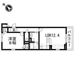 JR東海道・山陽本線 西大路駅 徒歩25分の賃貸アパート 2階1LDKの間取り
