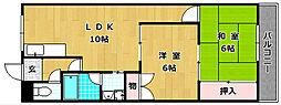 大阪府枚方市津田駅前2丁目の賃貸マンションの間取り