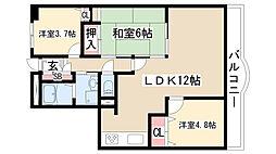 愛知県名古屋市緑区四本木の賃貸マンションの間取り