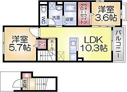 兵庫県神戸市長田区細田町3の賃貸アパートの間取り
