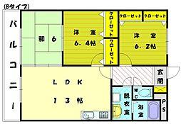 ブラッサムコート新宮[2階]の間取り