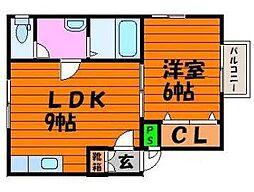 岡山県岡山市南区福浜西町の賃貸アパートの間取り