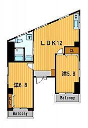 神奈川県横浜市神奈川区入江1丁目の賃貸マンションの間取り