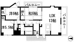 兵庫県西宮市上ケ原四番町の賃貸マンションの間取り