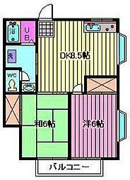 埼玉県さいたま市南区太田窪2丁目の賃貸アパートの間取り