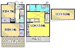 [テラスハウス] 東京都小平市学園西町2丁目 の賃貸【/】の間取り