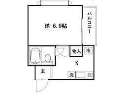 東京都国立市西3丁目の賃貸マンションの間取り