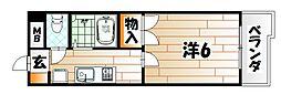 福岡県北九州市戸畑区境川2丁目の賃貸マンションの間取り