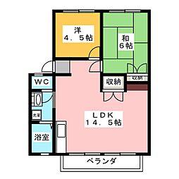 パナハイツウメダ B[2階]の間取り