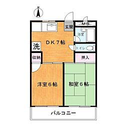 ガーデンハイム相澤[203号室]の間取り