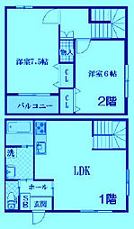 [テラスハウス] 神奈川県川崎市多摩区宿河原6丁目 の賃貸【/】の間取り