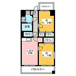 センターコート博多駅南[8階]の間取り