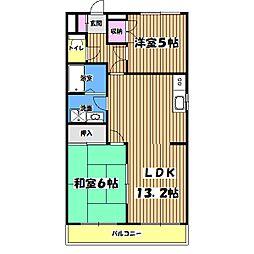 東京都武蔵村山市残堀2丁目の賃貸マンションの間取り