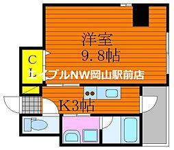 仮称 三門東町マンション 3階1Kの間取り