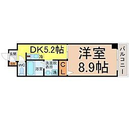 愛知県名古屋市中川区福住町の賃貸マンションの間取り