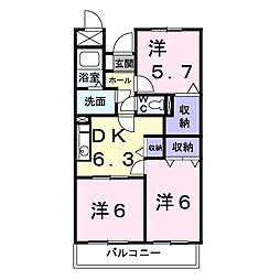 岡山県岡山市中区円山の賃貸マンションの間取り