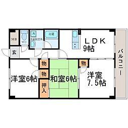 ハウスアイ尼崎[3階]の間取り