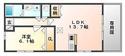 岡山県岡山市南区福富東2丁目の賃貸アパートの間取り