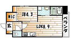 福岡県北九州市戸畑区天神1丁目の賃貸マンションの間取り