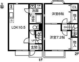 [テラスハウス] 愛知県稲沢市駅前2丁目 の賃貸【/】の間取り