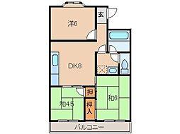 ヴィラ貴志川[2階]の間取り
