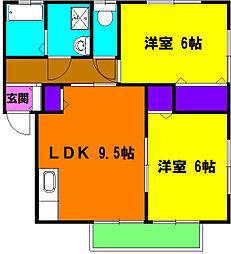 静岡県浜松市中区曳馬町の賃貸アパートの間取り