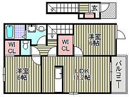 忠岡町忠岡東アパート[201号室]の間取り