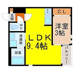 (仮称)GRANDTIC本笠寺 2階1LDKの間取り