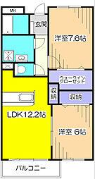 東京都清瀬市中清戸4丁目の賃貸マンションの間取り