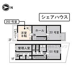 京阪本線 龍谷大前深草駅 徒歩4分の賃貸アパート 2階ワンルームの間取り