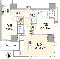 東急大井町線 大井町駅 徒歩14分の賃貸マンション 3階2LDKの間取り