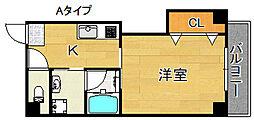 エテックUMIO 4階1Kの間取り