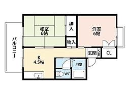 福岡県北九州市小倉南区葛原本町6丁目の賃貸アパートの間取り