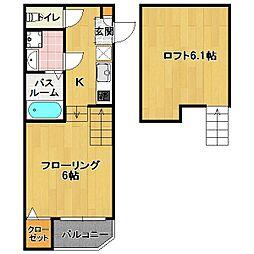 東区馬出 新築アパート[2階]の間取り