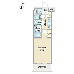 ディアレイシャス経堂 1階1Kの間取り