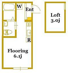 エアカーサ三ツ沢[2階]の間取り
