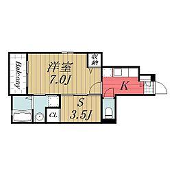 JR成田線 成田駅 バス24分 富里消防署下車 徒歩3分の賃貸アパート 1階1SKの間取り