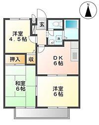 広島県福山市大門町3丁目の賃貸アパートの間取り