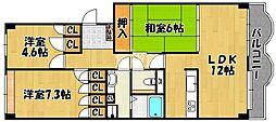 兵庫県明石市小久保の賃貸マンションの間取り