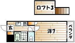 福岡県北九州市八幡西区折尾4丁目の賃貸アパートの間取り