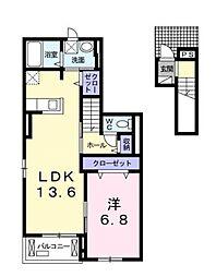 神奈川県藤沢市石川の賃貸アパートの間取り