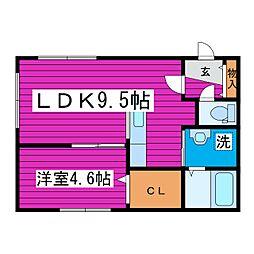 北39条東13丁目MS 2階1LDKの間取り